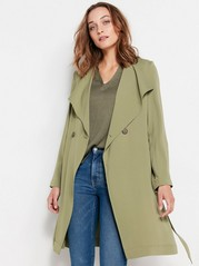 Soft Coat with Tie Belt  Green