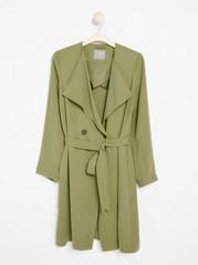Soft Coat with Tie Belt  Green