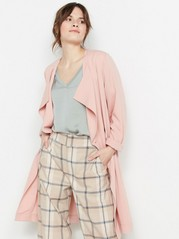 Soft Coat with Tie Belt  Pink