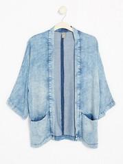 Kimonojakke i lyocelldenim Blå
