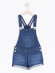 Striped Denim Dungaree Shorts Blue