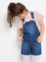 Dotted Dungaree Shorts with Frill Blue