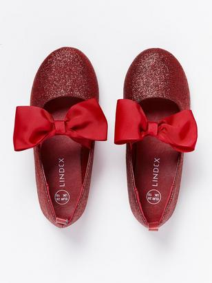 Glittery Ballerina Shoes with Bows Red