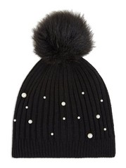 Ribbed Cap with Pom-pom and Pearls  Black