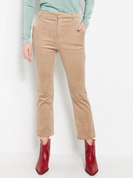 Manšestrové kalhoty svysokým pasem Běžová
