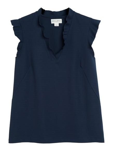 Ermeløs bluse med volang Blå
