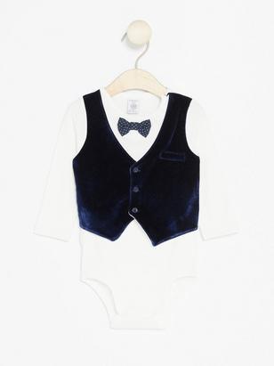 Bodysuit with Velour Waistcoat Blue