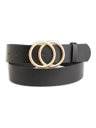 Belt with Round Buckle Black