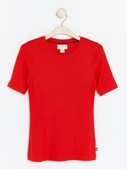 Ribbed Modal Top  Red