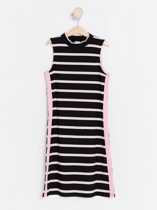 Striped Ribbed Dress Black