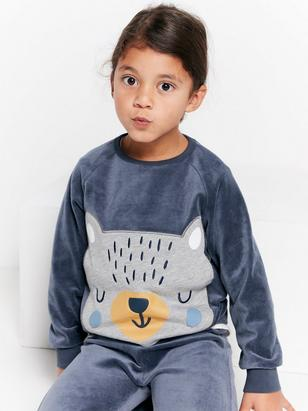 Velour Sweater with Bear Appliqué Blue
