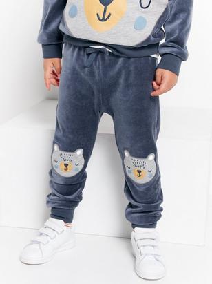 Velour Trousers with Bear Appliqués Blue