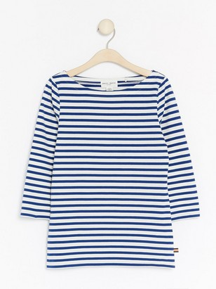 Striped Cotton Top with Three-quarter sleeves  Blue