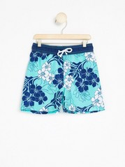 Patterned Swim Shorts  Turquoise