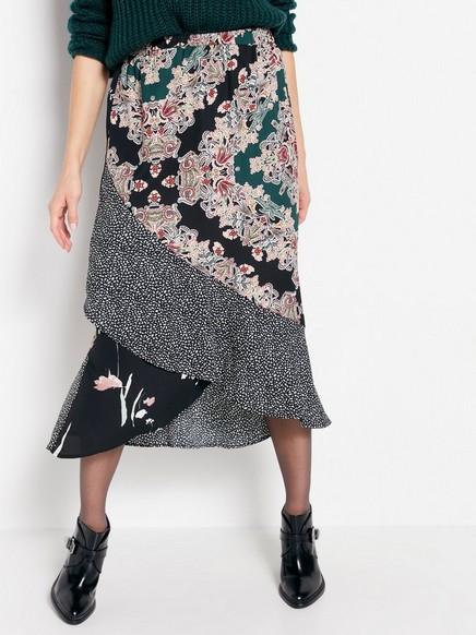 Mönstrad kjol med volang Svart