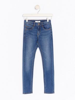 Smala superstretch jeans Blå