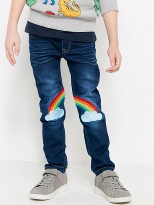 Smale jeans av jersey Blå