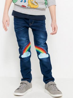 Narrow jersey jeans Blå