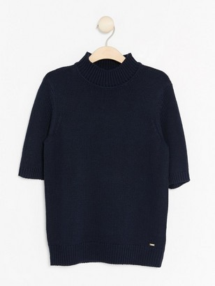 Pletený svetřík skrátkým rukávem Modrá
