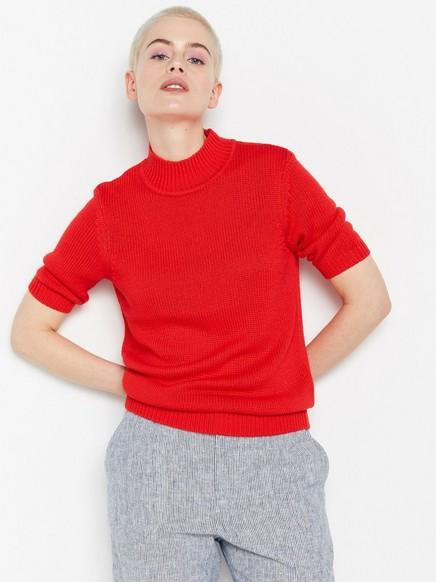 Strikket, kortermet genser Rød
