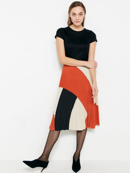 Plissert skjørt med fargeblokker Oransje