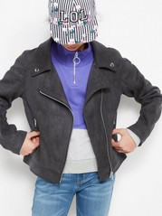 Biker Jacket in Fake Suéde Black