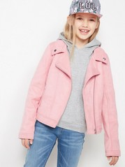 Biker Jacket in Fake Suéde Pink