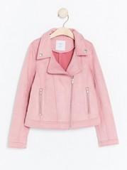 Biker-takki mokkanahkajäljitelmää Vaaleanpunainen