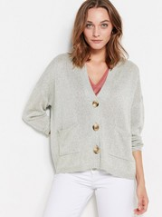 Knitted Cardigan with Pockets  Grey