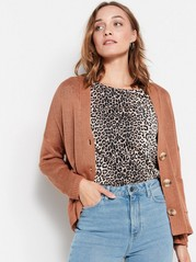 Knitted Cardigan with Pockets  Brown
