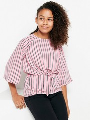 Striped Blouse with Wide Sleeves Pink