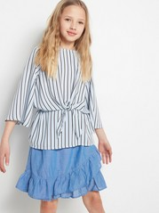 Striped Blouse with Wide Sleeves Blue