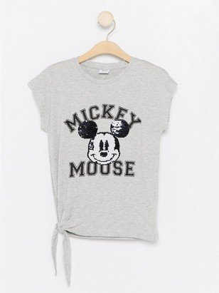 Mickey Mouse T-shirt with Reversible Sequins Grey