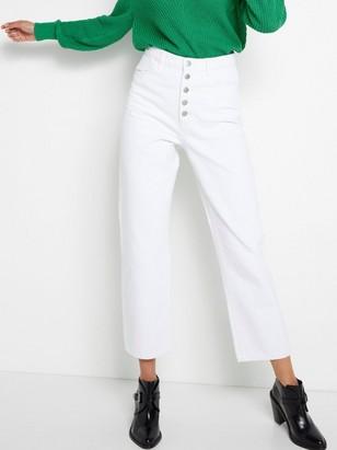 Zkrácené džíny svysokým pasem Bílá