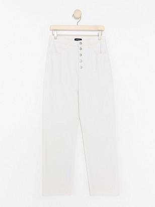 Croppade höga jeans Vit