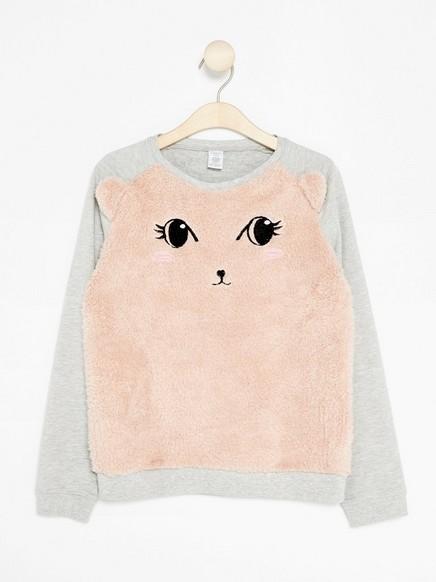 Sweatshirt with Pile Appliqué Grey
