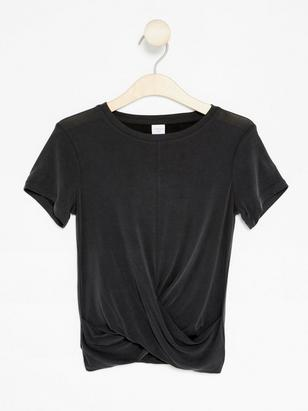 Short Sleeve Top with Wrap Front Black
