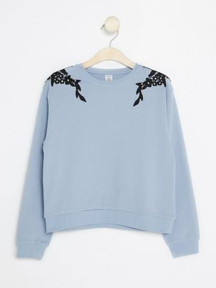 Blue Sweater with Lace Details Blue