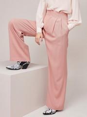 Vaaleanpunaiset housut lyocell-sekoitetta Vaaleanpunainen
