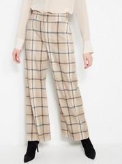 LYKKE Beige Checkered Wide Trousers  Beige