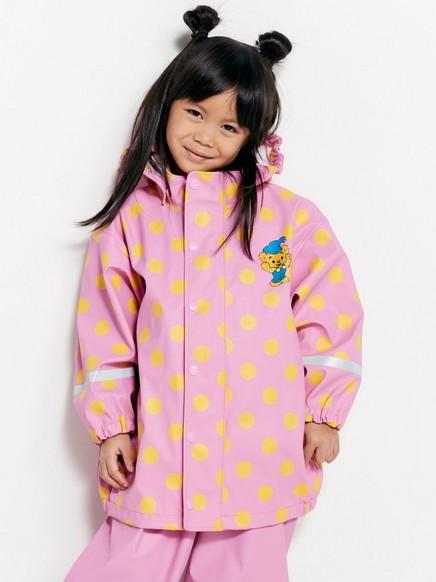 Mønstret regnjakke med Bamse Lilla