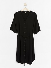 Short Sleeve Midi Dress with Tie Band  Black