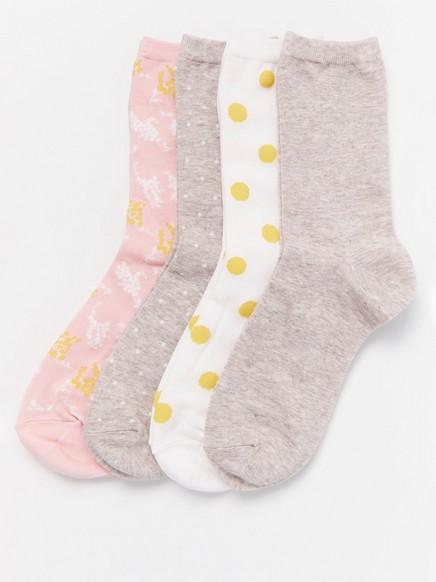 4-pakning med sokker Rosa