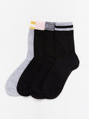 4-pack Socks with Contrasting Cuffs Black