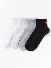 4-pack Ribbed Socks  White