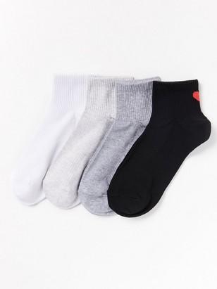 Sada 4párů žebrovaných ponožek Bílá