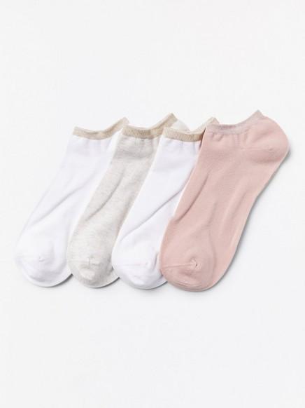 4 paria varrettomia sukkia, joissa kimallereunat Valkoinen