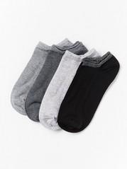 4-pakning med sokker med vrangbord med glitter Grå