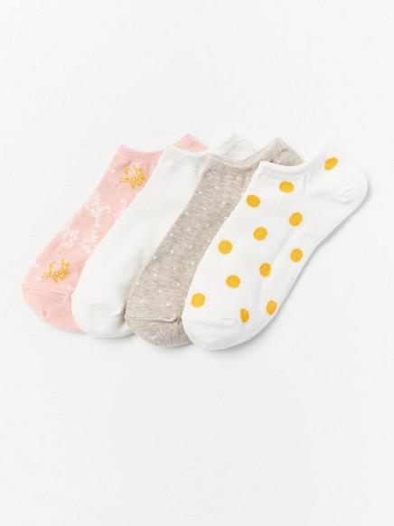 Kuviolliset varrettomat sukat, 4 paria Vaaleanpunainen