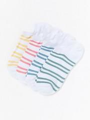 4-pakning med stripete sokker Hvit